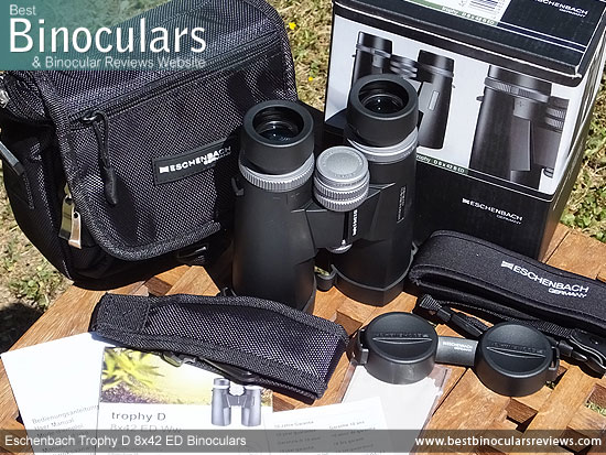 Carry Case, Neck Strap, Cleaning Cloth, Lens Covers & the Eschenbach Trophy D 8x42 ED Binoculars