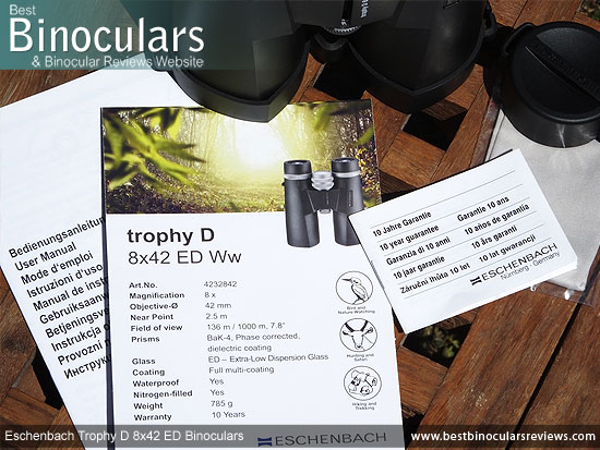Instructions & Warranty Info for the Eschenbach Trophy D 8x42 ED Binoculars