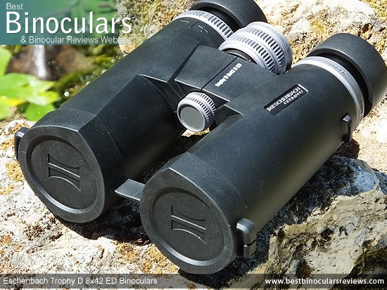 Objective Lens Covers on the Eschenbach Trophy D 8x42 ED Binoculars