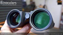 Deeply inset 52mm Objective lens on the Fujinon HC 8x42 Binoculars