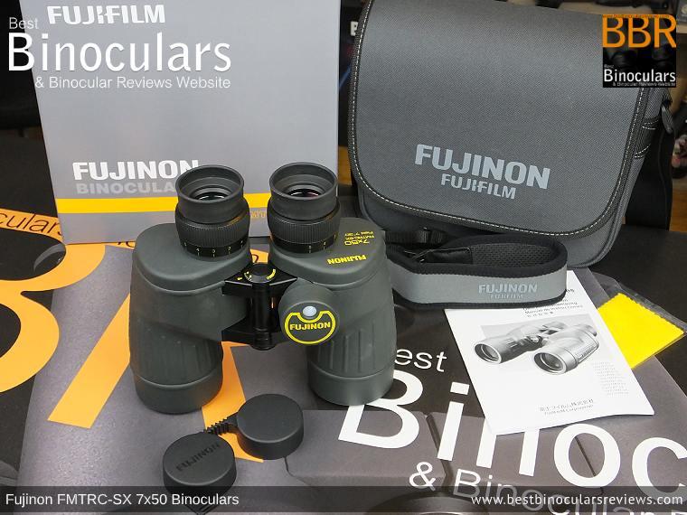Fujinon Polaris 7x50 FMTRC-SX binoculars and accessories plus packaging