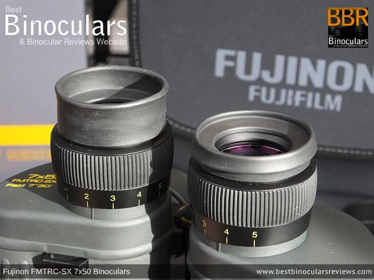 Eyecups on the Fujinon Polaris 7x50 FMTRC-SX binoculars
