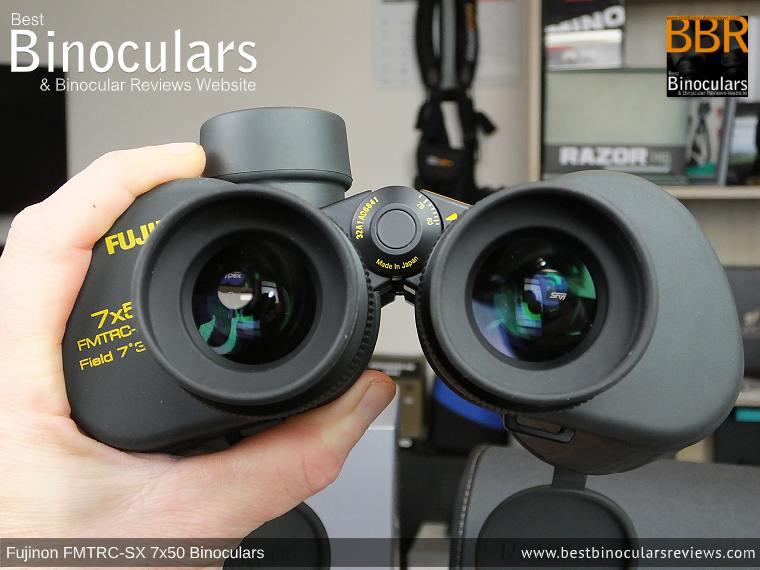 Holding the Fujinon Polaris 7x50 FMTRC-SX binoculars