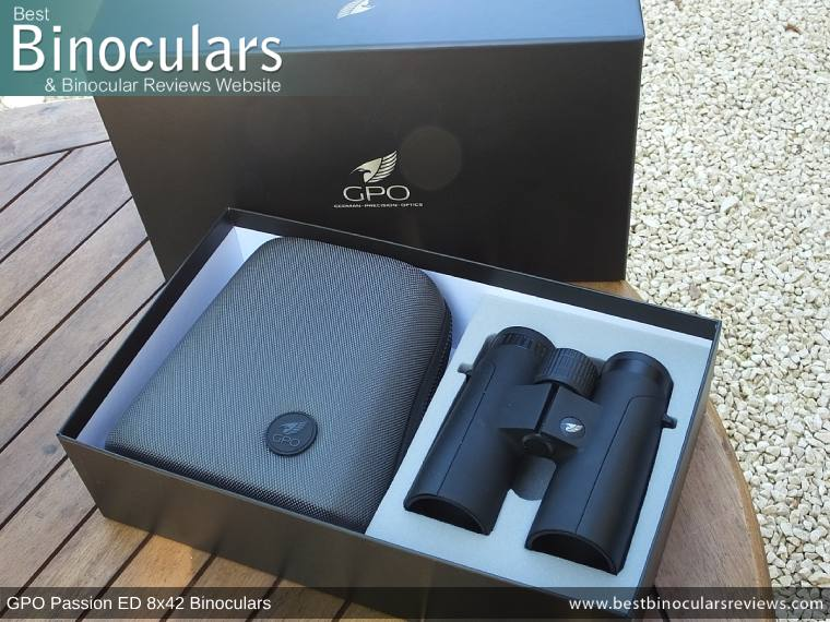 Carry Case, Neck Strap, Cleaning Cloth, Lens Covers & the GPO Passion ED 8x42 Binoculars