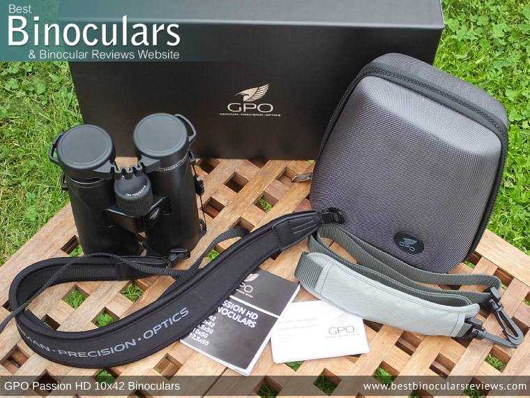 GPO Passion HD 10x42 Binoculars with neck strap, carry case and lens covers