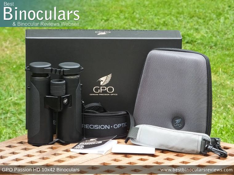 Carry Case, Neck Strap, Cleaning Cloth, Lens Covers & the GPO Passion HD 10x42 Binoculars