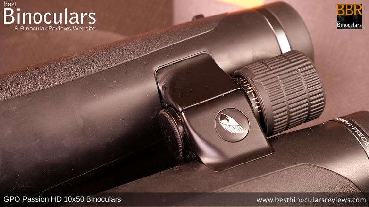 Integrated Diopter Adjuster on the focus wheel of the GPO Passion HD 10x50 Binoculars