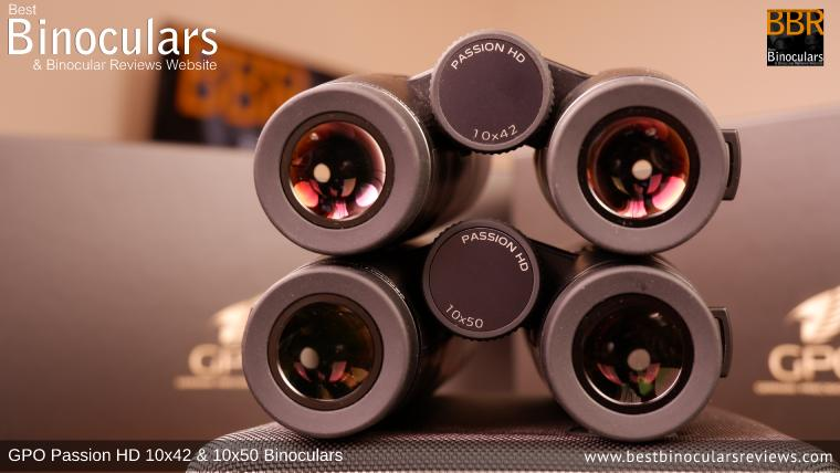 Ocular Lenses on the GPO Passion HD 10x50 and 10x42 Binoculars showing the different size exit pupils
