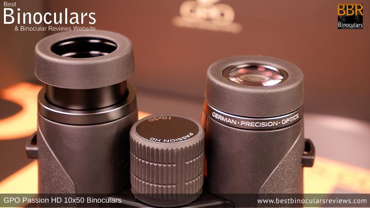 Eyecups on the GPO Passion HD 10x50 Binoculars