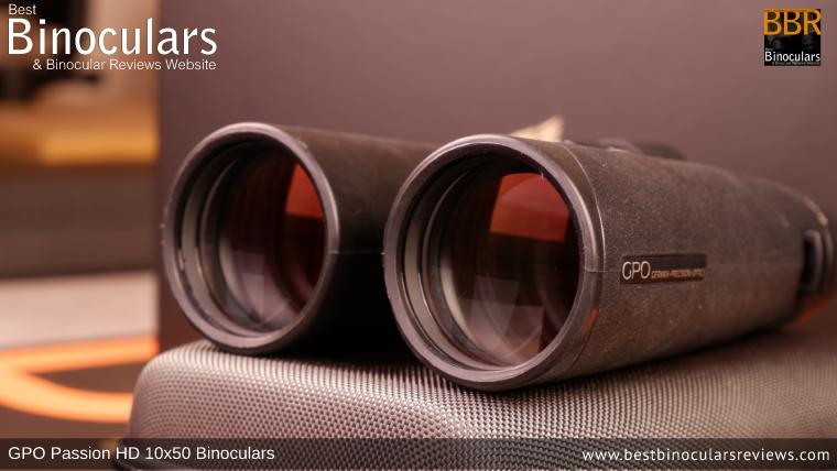 50mm Objective lenses on the GPO Passion HD 10x50 Binoculars