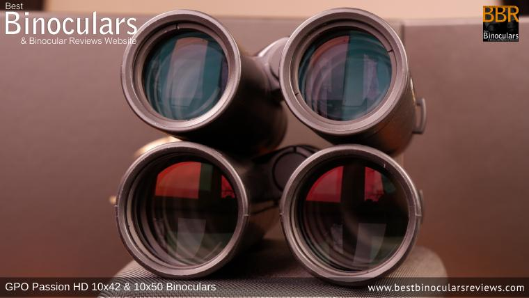 Comparing Objective lenses on the GPO Passion HD 10x50 Binoculars and GPO Passion HD 10x42 Binoculars