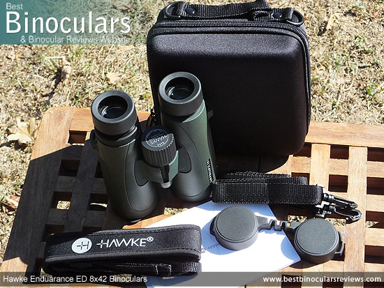 Hawke Endurance ED 8x42 Binoculars with neck strap, carry case and lens covers