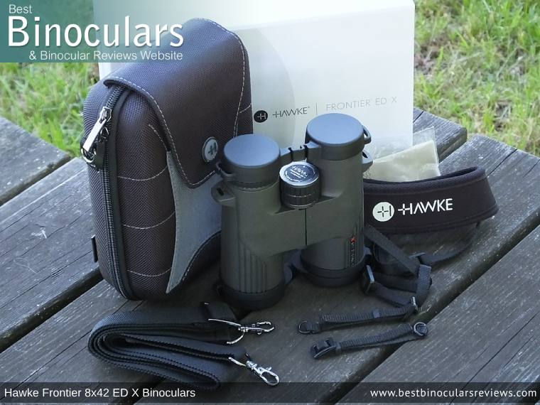 Hawke Frontier 8x42 ED X Binoculars with neck strap, carry case and lens covers