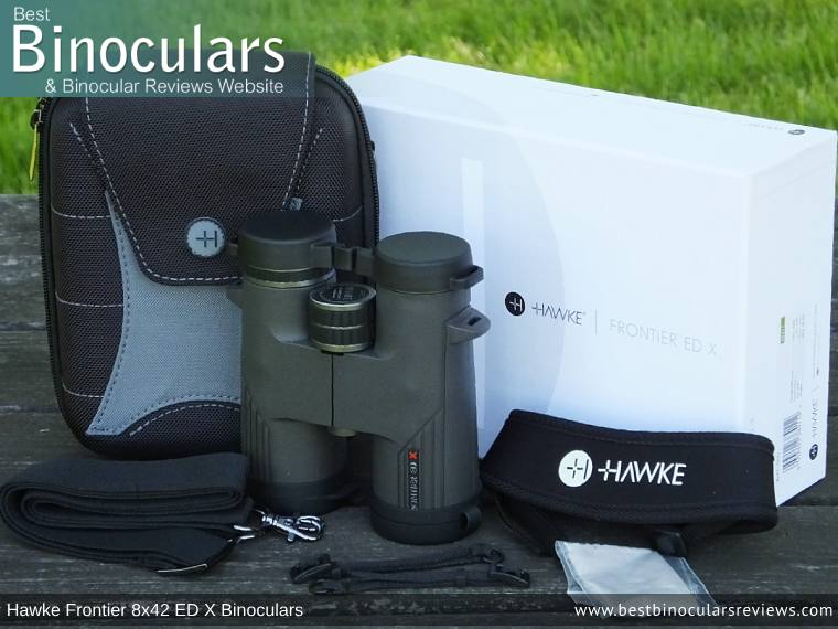 Carry Case, Neck Strap, Cleaning Cloth, Lens Covers & the Hawke Frontier 8x42 ED X Binoculars