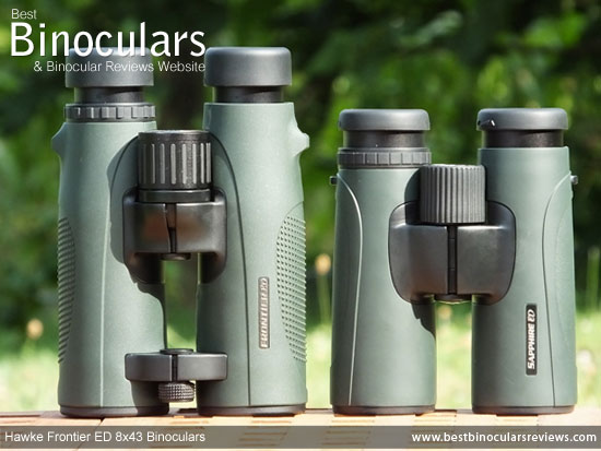 Size comparison of the Hawke Frontier ED 8x43 and the Hawke Sapphire 8x42 ED Binoculars