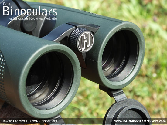 Objective lenses on the Hawke Frontier ED 8x43 Binoculars