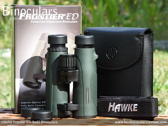 Hawke Frontier ED 8x43 Binoculars with neck strap, carry case and rain-guard