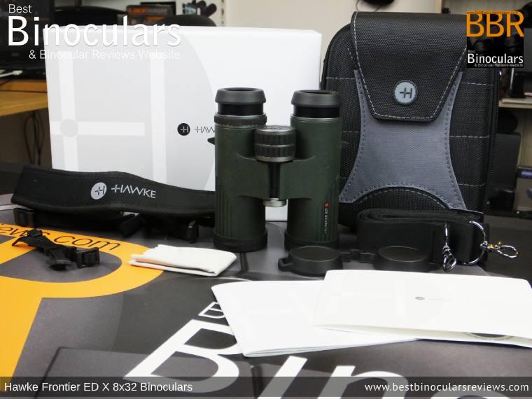 Hawke Frontier ED X 8x32 Binoculars and accessories plus packaging
