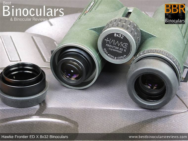 Removable Eyepiece housings on the Hawke Frontier ED X 8x32 Binoculars