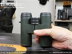 Holding the Hawke Frontier ED X 8x32 Binoculars