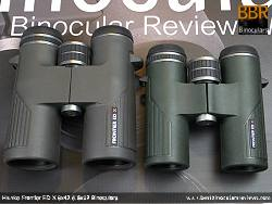 Size comparison between the Hawke Frontier ED X 8x32 Binoculars and the 8x42 version