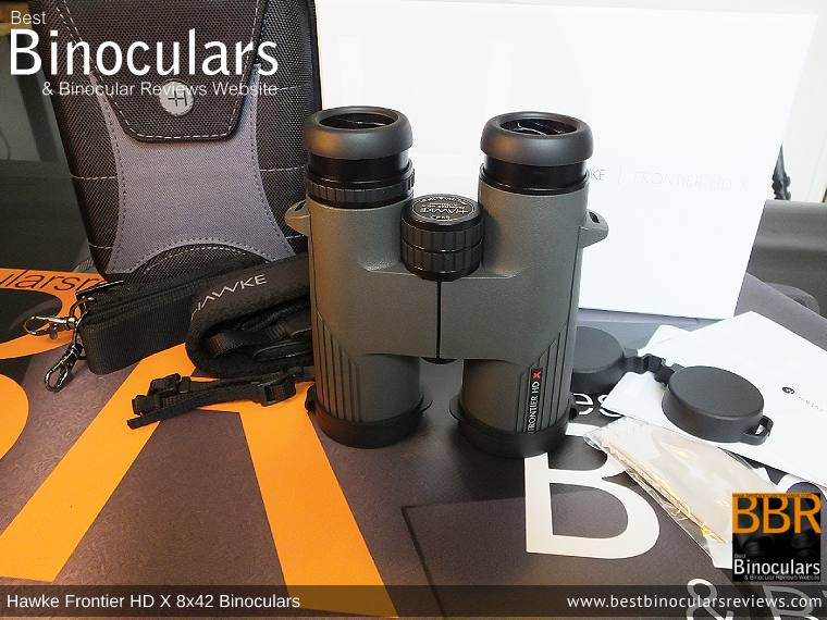 Hawke Frontier 8x42 HD X Binoculars with neck strap, carry case and lens covers