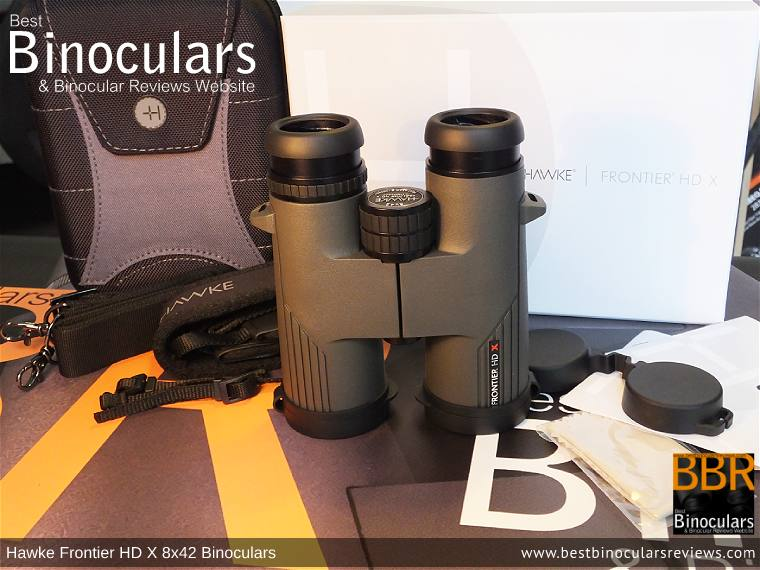Carry Case, Neck Strap, Cleaning Cloth, Lens Covers & the Hawke Frontier 8x42 HD X Binoculars
