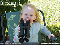 My Daughter using the Hawke Nature-Trek Open Hinge 8x42 Binoculars