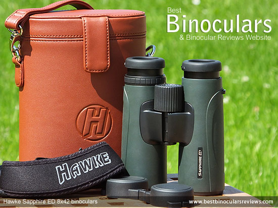 Hawke Sapphire ED 8x42 Binoculars with neck strap, carry case and rain-guard