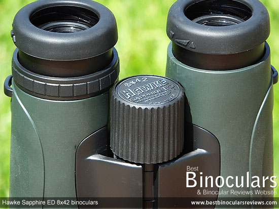 Focus Wheel on the Hawke Sapphire ED 8x42 Binoculars