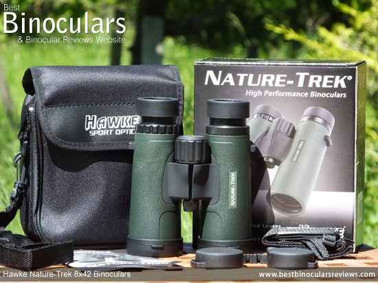 Hawke Nature-Trek 8x42 Binoculars with neck strap, carry case and rain-guard