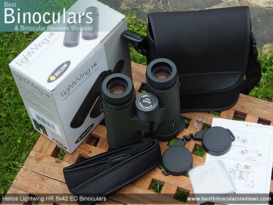 Helios Lightwing HR 8x42 Binoculars with neck strap, carry case and lens covers