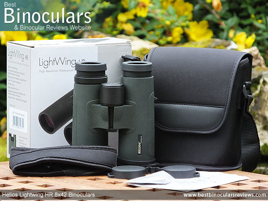 Carry Case, Neck Strap, Cleaning Cloth, Lens Covers & the the Helios Lightwing HR 8x42 Binoculars