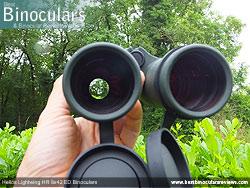 Reverse view through the Helios Lightwing HR 8x42 Binoculars