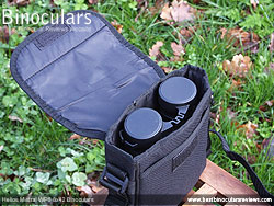 Helios Mistral WP6 8x42 Binoculars inside their carry case