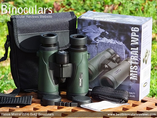 Helios Mistral WP6 8x42 Binoculars with neck strap, carry case and rain-guard
