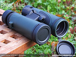 Lens Covers on the Helios Mistral WP6 8x42 Binoculars