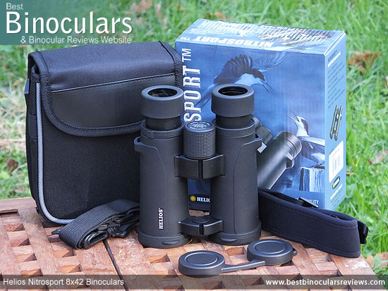 Helios Nitrosport 8x42 Binoculars with neck strap, carry case and lens covers