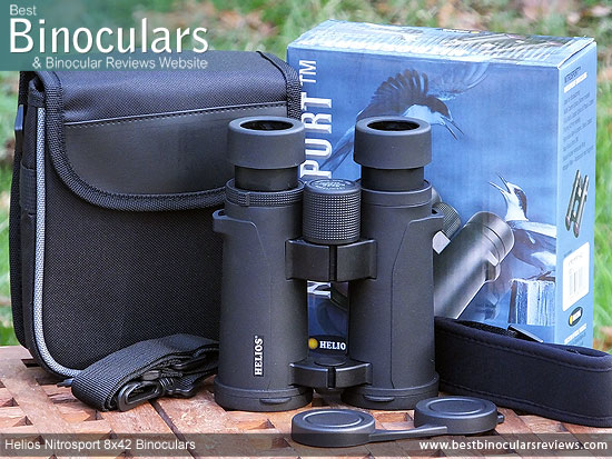 Carry Case, Neck Strap, Cleaning Cloth, Lens Covers & the Helios Nitrosport 8x42 Binoculars