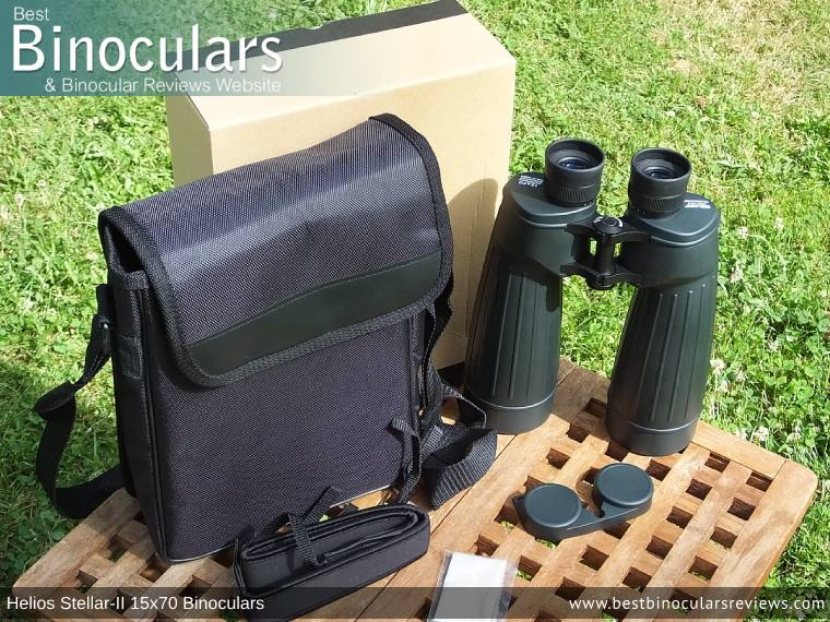 Helios Stellar-II 15x70 Binoculars and Accessories