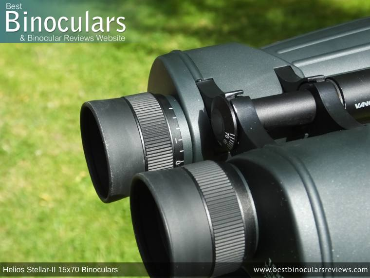 Individual Eyepiece Focus on the Helios Stellar-II 15x70 Binoculars