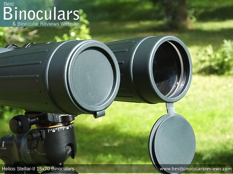 Objective Lens Covers on the Helios Stellar-II 15x70 Binoculars