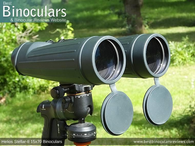 Helios Stellar-II 15x70 Binoculars on a tripod