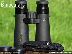 Neck strap on the Kite Ibis ED 8x42 Binoculars