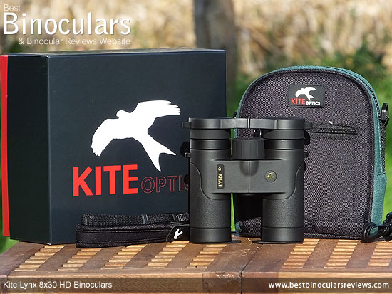 Kite Lynx HD 8x30 Binoculars with carry case, neck strap, lens covers and box
