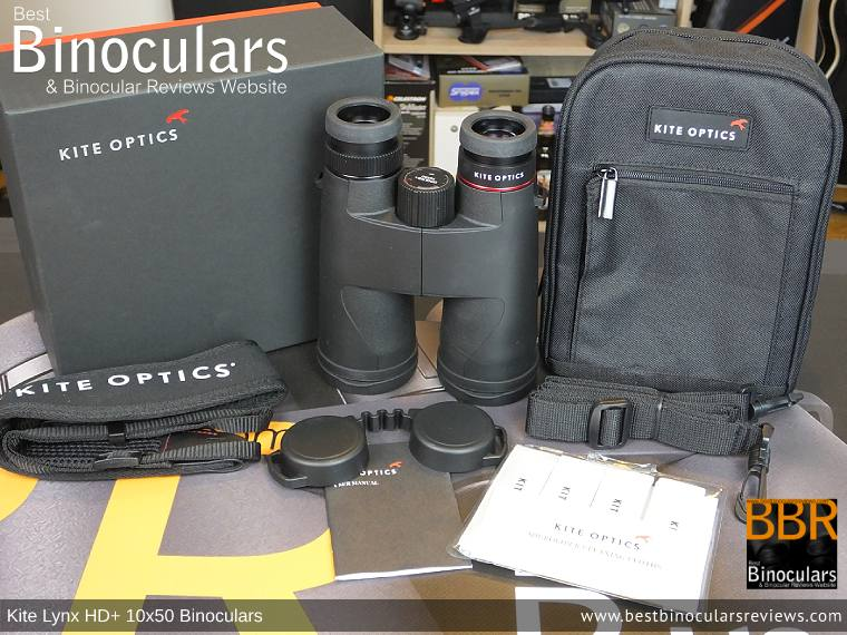 Bino Harness/Case, Neck Strap, Cleaning Cloth, Lens Covers & the Kite Lynx HD+ 10x50 Binoculars