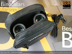 Inside the Carry Case & Accessory Pouch for the Kite Lynx HD+ 10x50 Binoculars