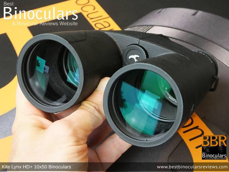50mm Objective lenses on the Kite Lynx HD+ 10x50 Binoculars