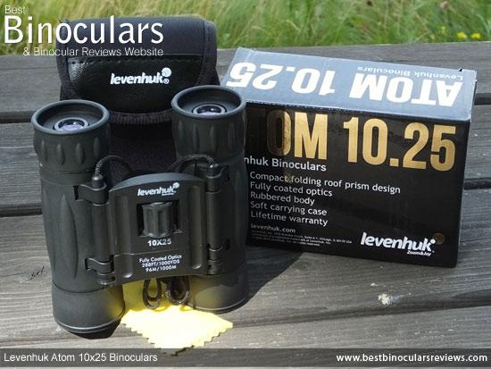 Levenhuk Atom 10x25 Binoculars with neck strap and case