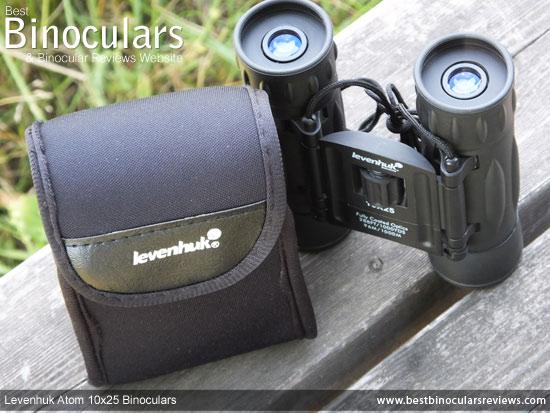 Levenhuk Atom 10x25 Binoculars and pouch